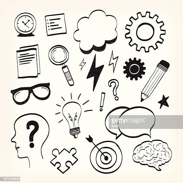 brainstorming & sketching - pencil drawing stock illustrations, clip art, cartoons, & icons