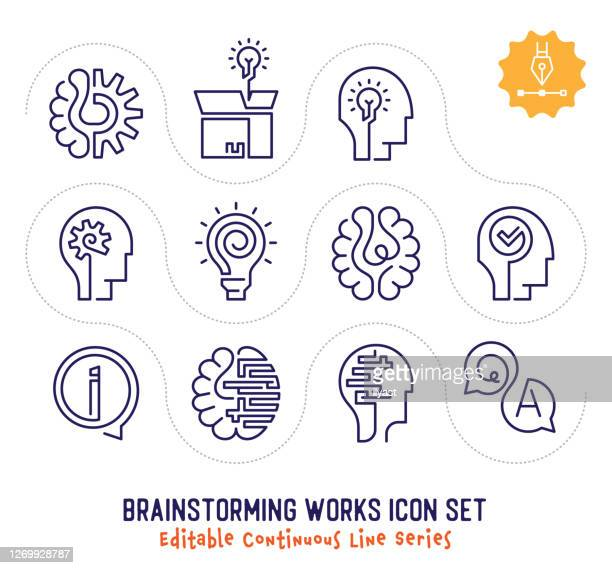 ilustrações, clipart, desenhos animados e ícones de brainstorming funciona editável pacote de ícones de linha contínua - novas ideias