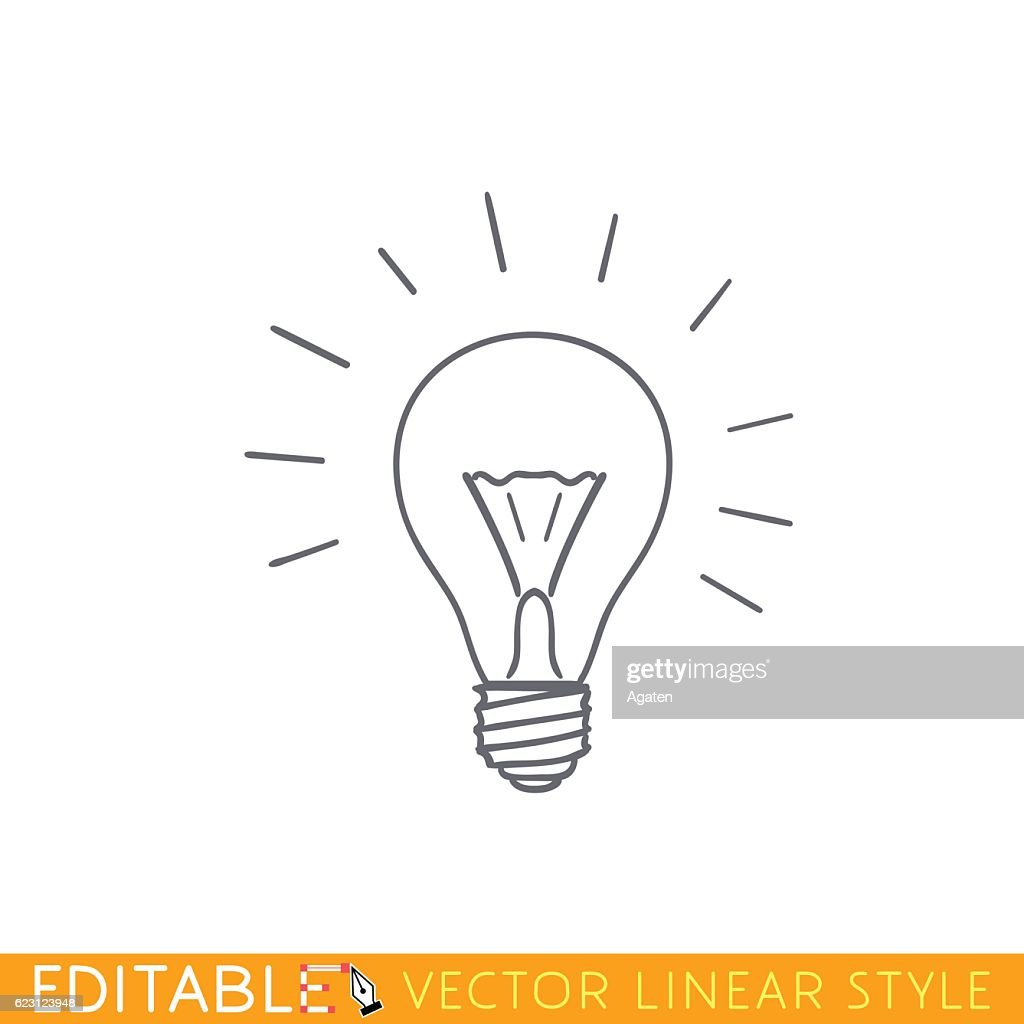 Brainwave lamp. Outline sketch icon.