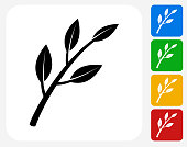 Branch and Leafs Icon Flat Graphic Design