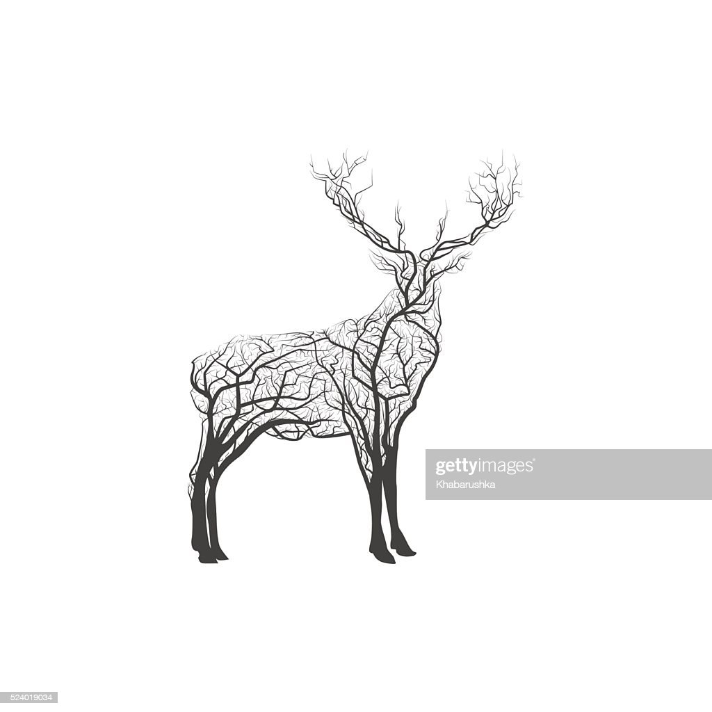 Branch Deer. Vector Illustration