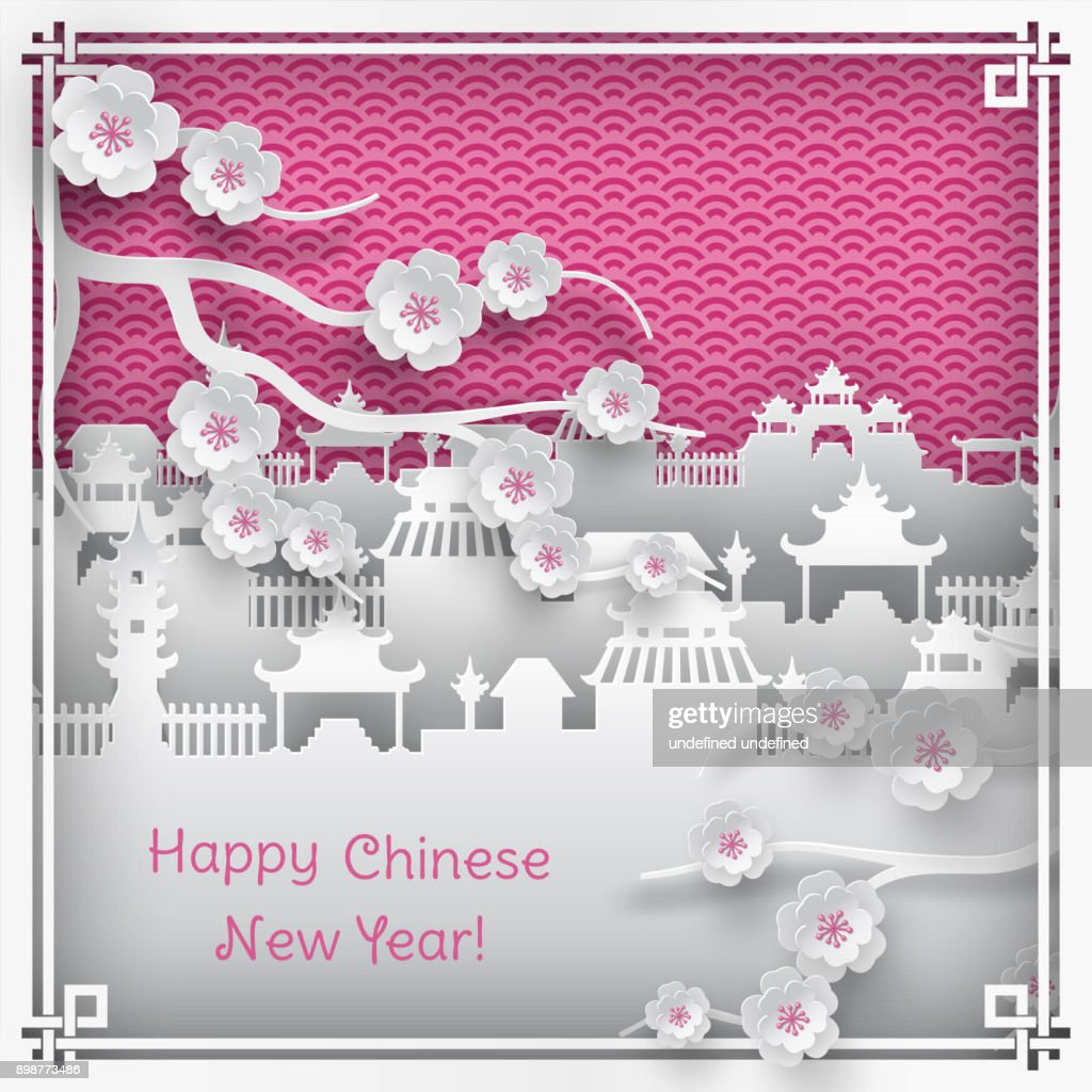 branch of cherry blossoms and chinatown village on pink outdoor background with oriental vintage pattern frame for chinese new year greeting card, paper cut out style, vector