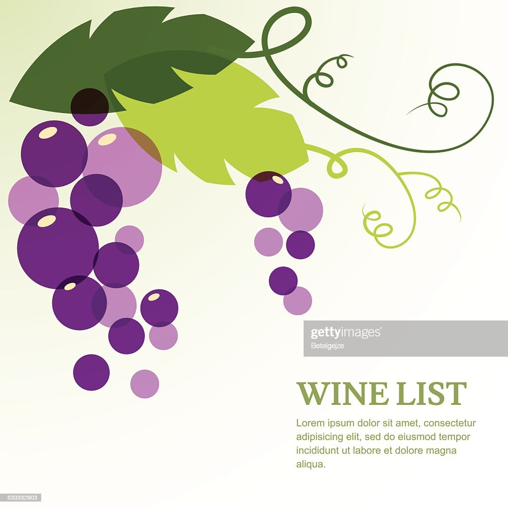 Branch of grape with leaves. Abstract vector background design template