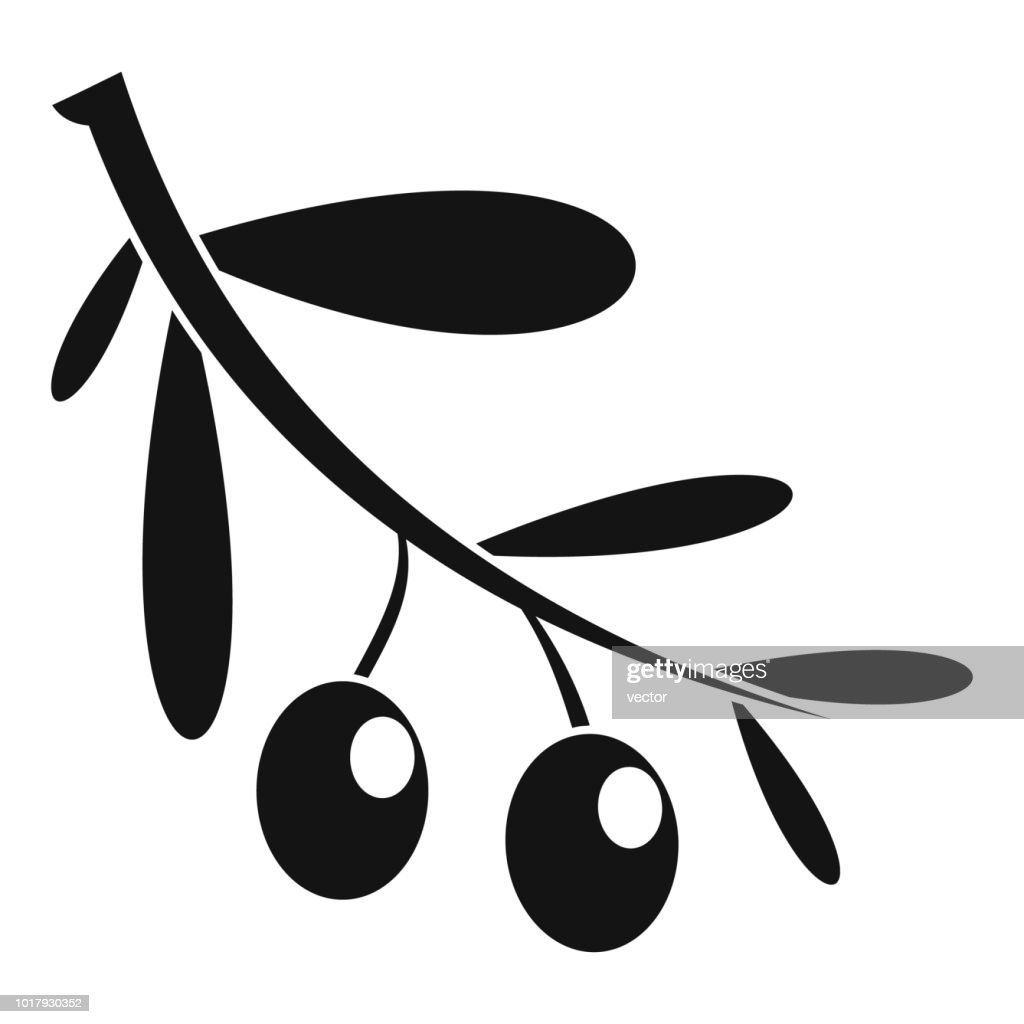 Branch of olives icon, simple style