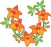 Branch of Orange Red Flower