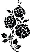 Branch with flowers. Vector black silhouette.