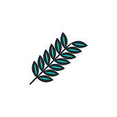 branch with leaves icon. Element of web icon with one color for mobile concept and web apps. Isolated branch with leaves icon can be used for web and mobile