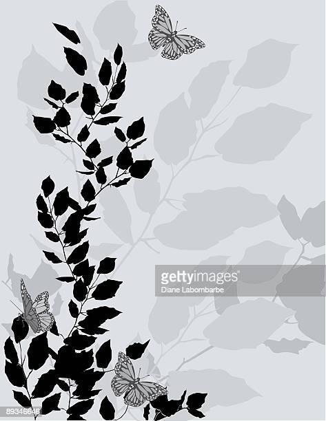 枝の葉とひらめくバタフライシルエットの背景 - clip art点のイラスト素材/クリップアート素材/マンガ素材/アイコン素材