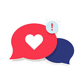 Brand Ambassador Chat Speech Bubble Icon and Influencer Marketing Representative. Love chat or client oriented