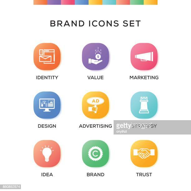 Brand Icons Set on Gradient Background