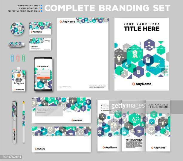brand identity set - flyer leaflet stock illustrations