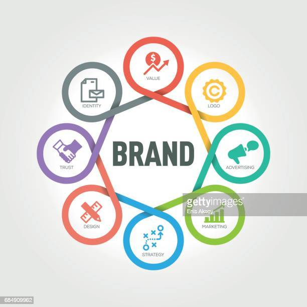 Brand infographic with 8 steps, parts, options