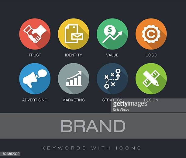 brand keywords with icons - commercial sign stock illustrations