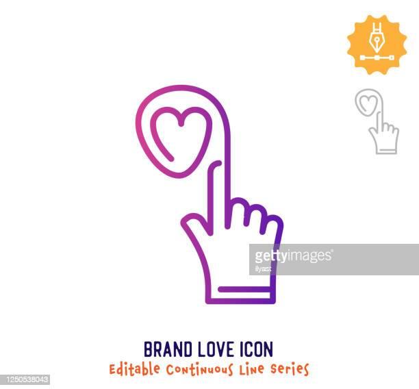 illustrations, cliparts, dessins animés et icônes de icône d'édition de ligne continue d'amour de marque - parrainage