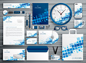 brand stationery abstract template with blue mosiac shapes