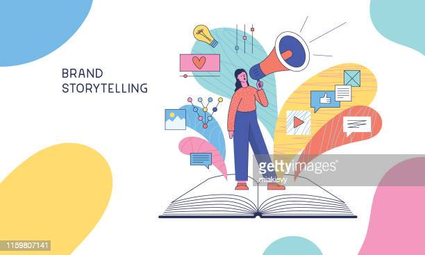 brand storytelling - reading stock illustrations