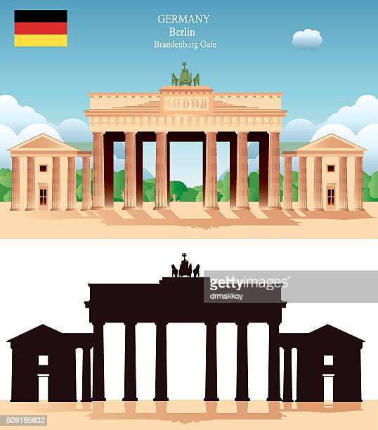 brandeburg gate - brandenburg gate stock illustrations, clip art, cartoons, & icons