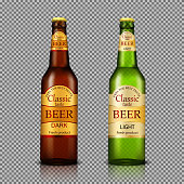 Branded bottles of beer realistic vector