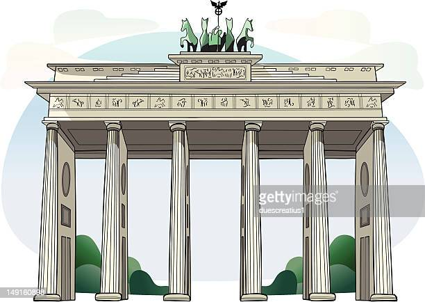 brandenburg gate - berlin - brandenburg gate stock illustrations, clip art, cartoons, & icons
