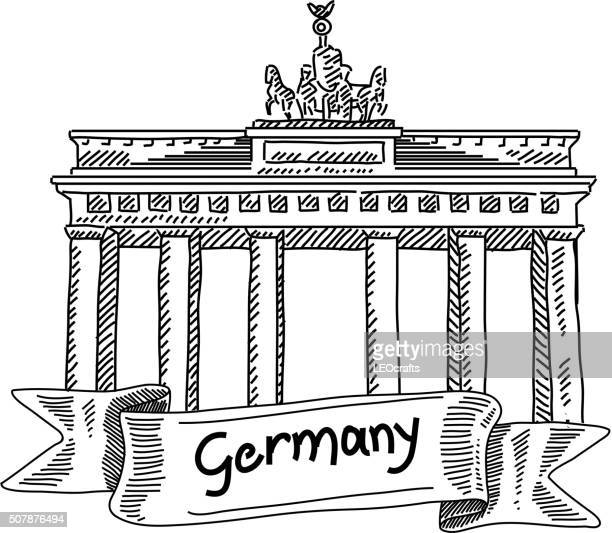 brandenburg gate drawing - brandenburg gate stock illustrations, clip art, cartoons, & icons