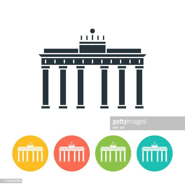 brandenburg gate flat icon - color illustration - brandenburg gate stock illustrations, clip art, cartoons, & icons