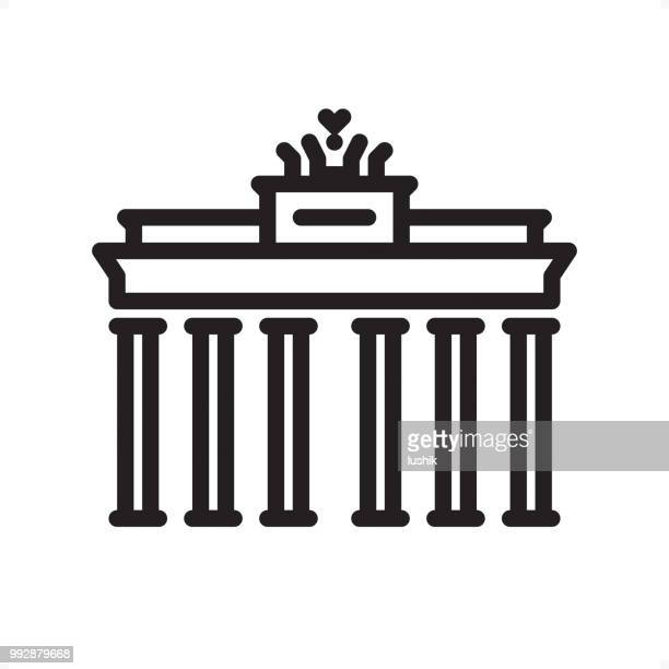 brandenburg gate - outline icon - pixel perfect - brandenburg gate stock illustrations, clip art, cartoons, & icons