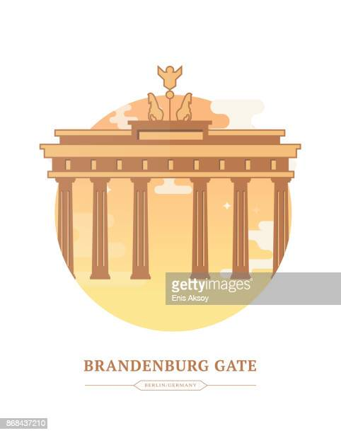 brandenburg gate - brandenburg gate stock illustrations, clip art, cartoons, & icons