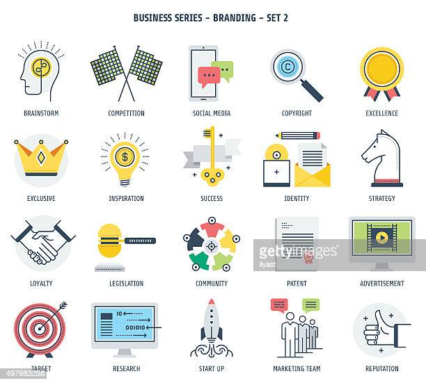 branding and entrepreneurship icon set - verification stock illustrations, clip art, cartoons, & icons