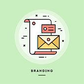Branding, flat design thin line banner. Vector illustration.