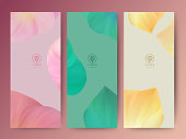 Branding Packageing leaf nature background, banner voucher, spring summer tropical, vector illustration