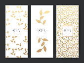 Branding Packageing leaf nature background, symbol banner voucher, Gold leaves ornaments, vector illustration