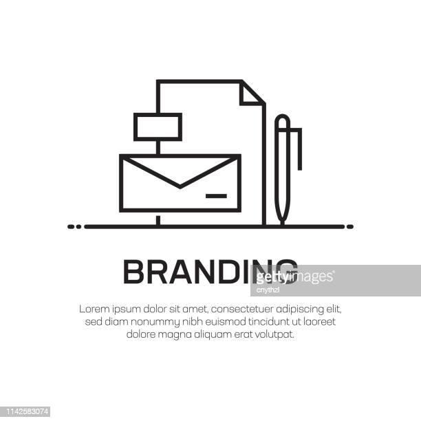 illustrazioni stock, clip art, cartoni animati e icone di tendenza di icona linea vettoriale di branding - icona semplice linea sottile, elemento di design di qualità premium - identità