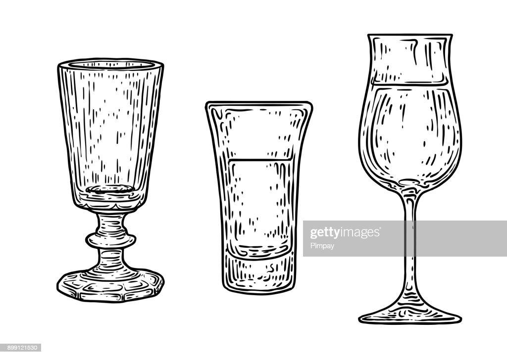 Brandy glass illustration, drawing, engraving, ink, line art, vector