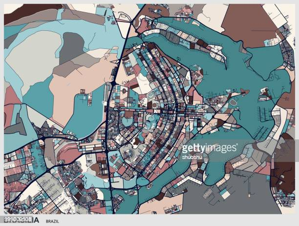 brasilia art map - distrito federal brasilia stock illustrations