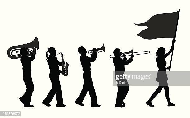 brass band vector silhouette - parade stock illustrations