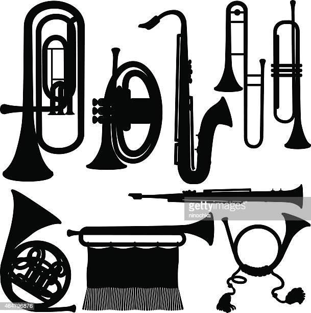 illustrations, cliparts, dessins animés et icônes de des instruments en cuivre - jazz