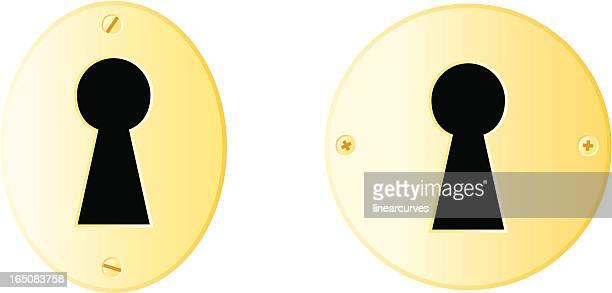 ilustraciones, imágenes clip art, dibujos animados e iconos de stock de keyholes de latón - ojo de cerradura