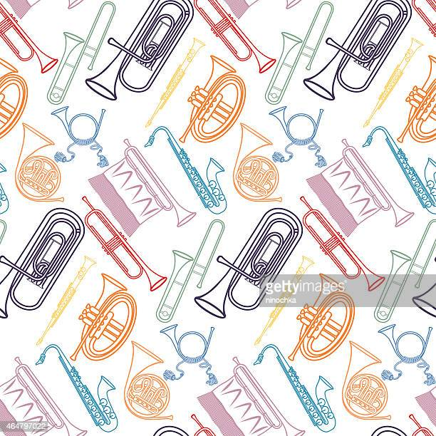 brass pattern - saxaphone stock illustrations, clip art, cartoons, & icons