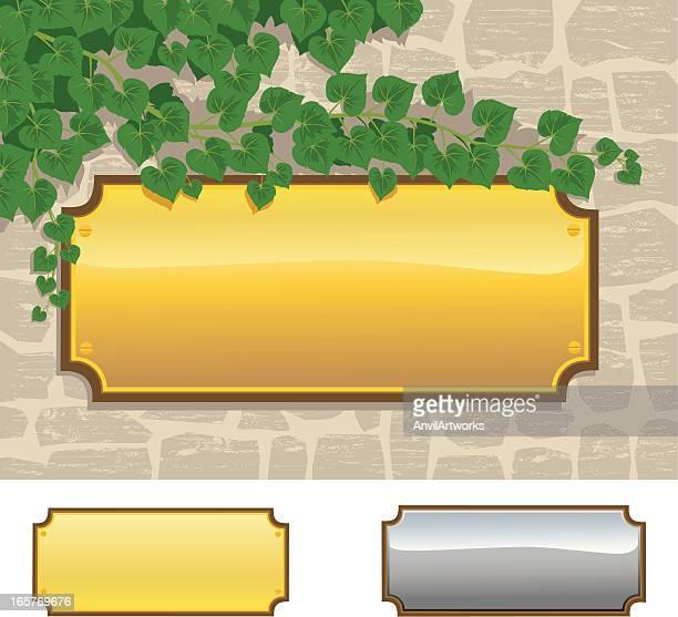 真ちゅうプレートの石の壁 - 飾り板点のイラスト素材/クリップアート素材/マンガ素材/アイコン素材