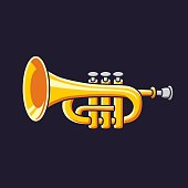 Brass trumpet vector icon.
