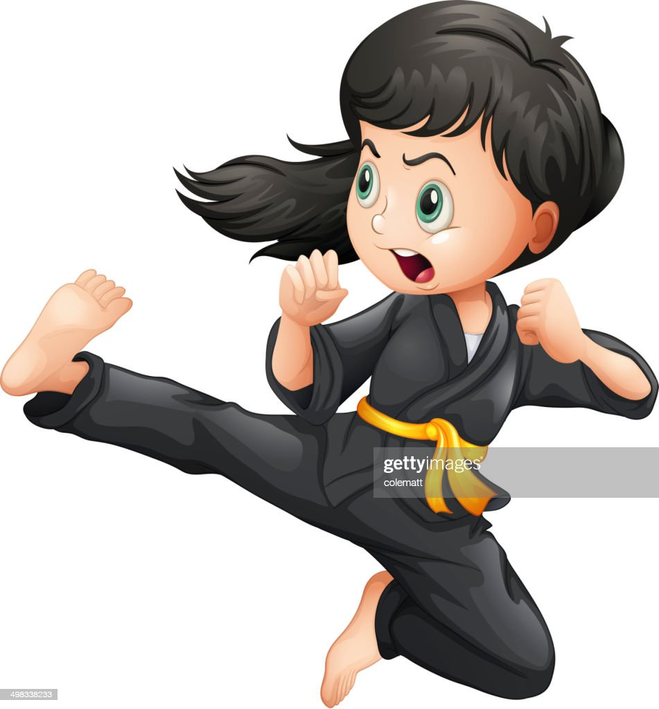 Brave girl doing karate