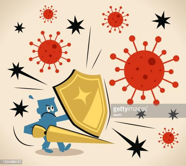 コロナウイルス(細菌、ウイルス)に対して盾とランスを運ぶ勇敢な騎士、免疫系、抗体 - ウイルス感染点のイラスト素材/クリップアート素材/マンガ素材/アイコン素材