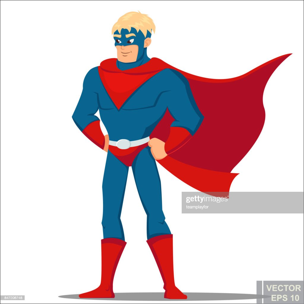 brave masculine cartoon man in comic book superhero costume Super Male Hero. Vector illustration eps10