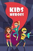 Brave superhero kids cartoon vector poster