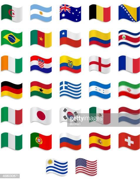 brazil 2014- complete  flag collection - international soccer event stock illustrations