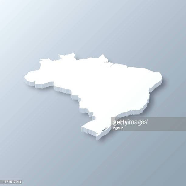 illustrazioni stock, clip art, cartoni animati e icone di tendenza di brazil 3d map on gray background - brasile