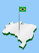 Brazil 3D Map with Flagpole and Brazilian Flag