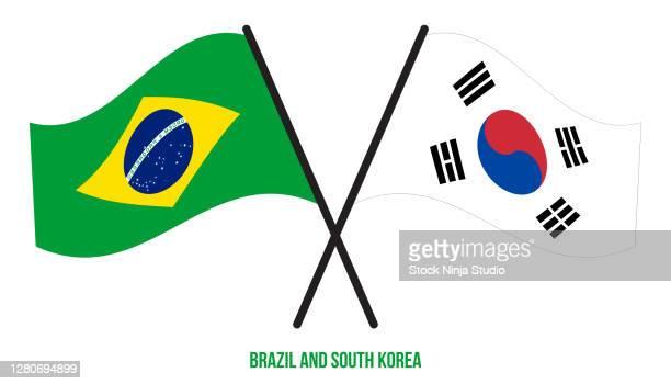 brazil south korea flags crossed waving