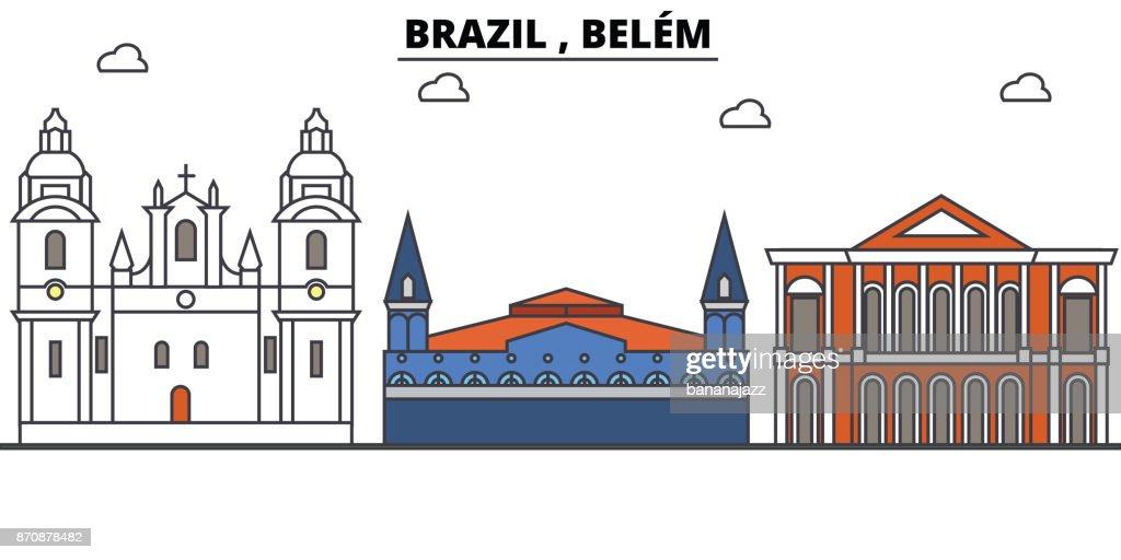 Brazil , Belem outline skyline, brazilian flat thin line icons, landmarks, illustrations. Brazil , Belem cityscape, brazilian travel city vector banner. Urban silhouette