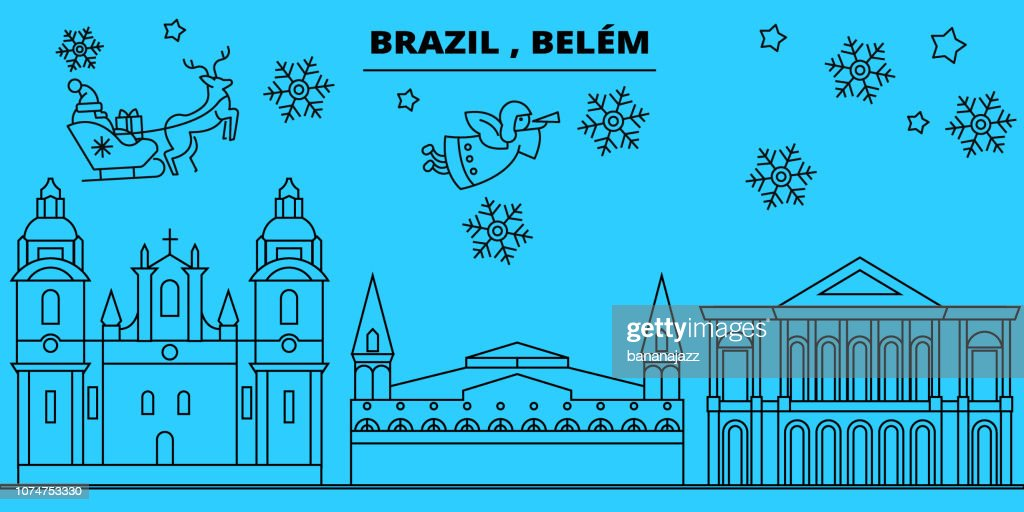 Brazil, Belem winter holidays skyline. Merry Christmas, Happy New Year decorated banner with Santa Claus.Brazil, Belem linear christmas city vector flat illustration
